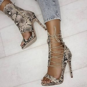 Shoes - Snakeskin Pattern Women Pumps High Heels